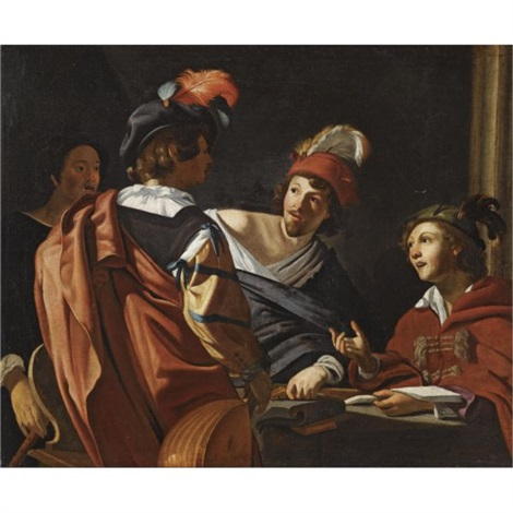 a group of figures around a table making music by theodoor rombouts