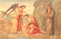 an angel baptizing saint apollonia and a monk, possibly   saint leonine, in prayer in a landscape by francesco granacci