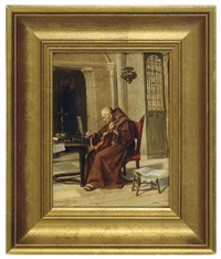 a monk playing the violin by torello ancillotti