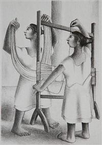 mayan women weaving by francisco dosamantes