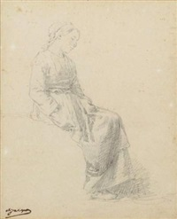 jeune femme assise by charles jacques