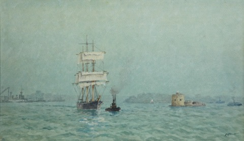 Clipper passing Fort Denison, Sydney Harbour by Frederick