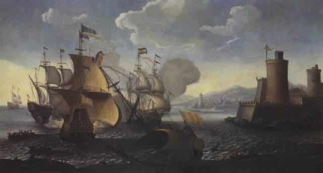 bataille navale aux abords dun port fortifié by abeille