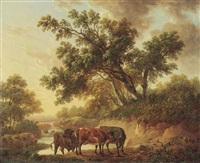 cattle by a river, evening by charles towne