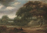 a wooded river landscape with travellers resting on a track by salomon rombouts
