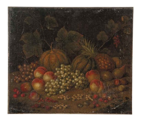 melons, cantelopes, a pineapple, grapes on the vine, pears, peaches, rasberries, red currants, white currants, and other fruit in a wooded clearing by george gray