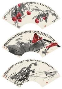 茄枝 红荷 群虾 (lychee, red lotus, shrimps) (album of 3) by chen shuoshi