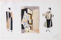 costume designs (set of 7) by sonia delaunay-terk
