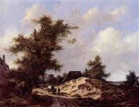 voyageurs sur un chemin sablonneux traversant un village by adrianus van der koogh