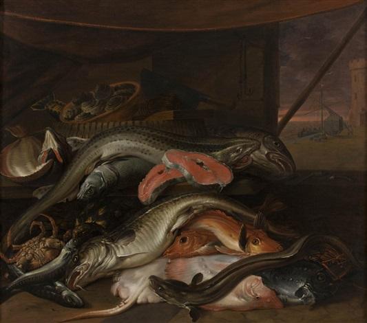interno con mostra del pescato su un piano by abraham van beyeren