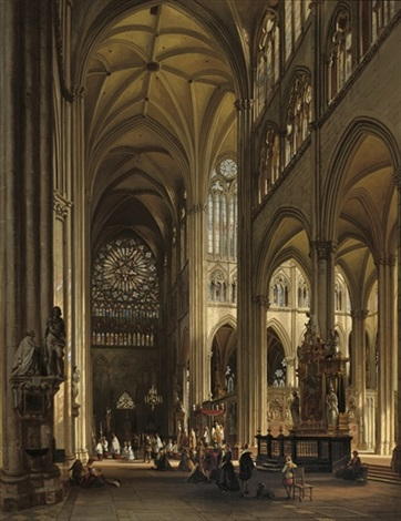interior of the amiens cathedral with the northern transept rose by jules victor genisson