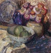 floral still life with fruit by louise coupé