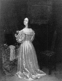 portret van een vrouw in een satijnen jurk by cornelis willem hoevenaar the elder