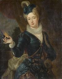 portrait de femme tenant un masquesur sa by nicolas fouche