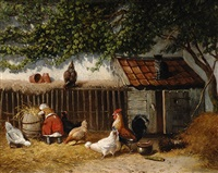 farmyard with chickens by jan geerard smits
