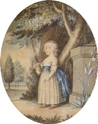 a charming portrait of theresa parker holding a basket of cherries by william wellings