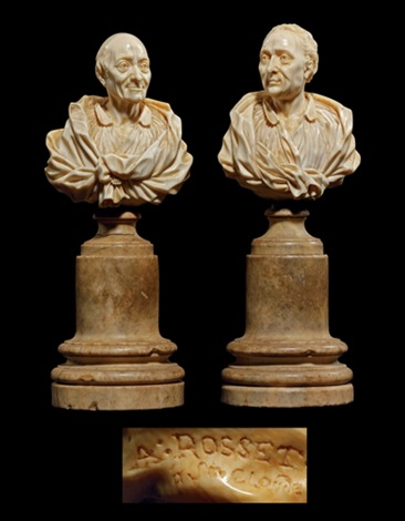 bust of voltaire bust of montesquieu pair by claude antoine rosset