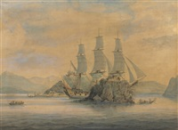 an east indiaman passing the forts at the boca tigris, china by samuel atkins