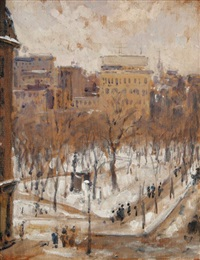 square à paris, temps de neige by gustave caillebotte