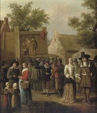 a street theatre in a village with figures conversing by cornelis beelt