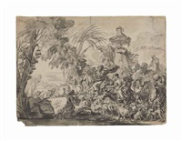 a caravan of people and animals heading to an encampment by giovanni david