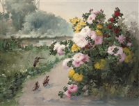 sparrows by a chrysanthemum bush by edmond lespagnol