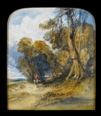 figures on a woodland path by charles bentley