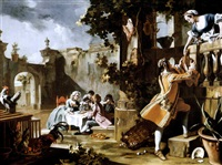 an elegant children's tea-party in the forecourt of an italian villa with a young man passing a joint of meat to a woman standing on a balcony above by filippo falciatore