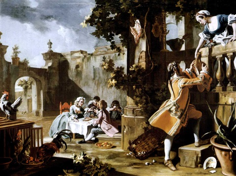 an elegant childrens tea party in the forecourt of an italian villa with a young man passing a joint of meat to a woman standing on a balcony above by filippo falciatore