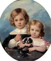 portrait de deux enfants jouant avec un chien by raymond auguste quinsac monvoisin