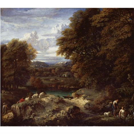 a wooded river landscape with a shepherd resting near his flock by cornelis huysmans