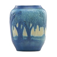 vase decorated with live oaks and spanish moss by anna frances connor simpson