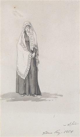 frau mit umschlagtuch lady with a shawl by caspar david friedrich