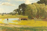 horses watering in a summer landscape by sir david murray