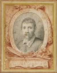 an oval portrait of annibale carracci by carlo maratta