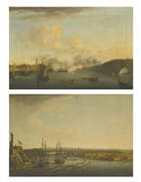two views of the siege of havana, 1762 (pair) by dominic serres