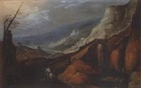 paysage montagneux animé de villageois et cavalier by philips de momper the younger