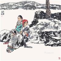 人物 软片 设色纸本 by li wei