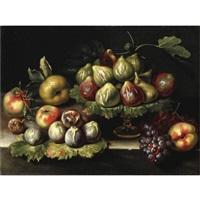 natura morta con fichi, mele e uva by agostino verrocchi