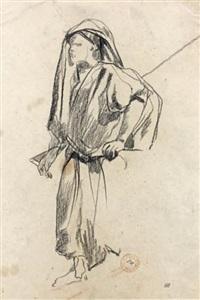etude d'un maure portant un fusil (study) by eugène fromentin