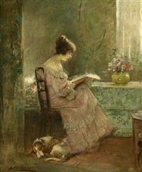 a young girl reading in an interior in the sunshine by joseph w. gies