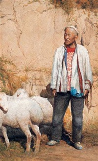 老农与羊 (farmer with sheep) by xu mangyao