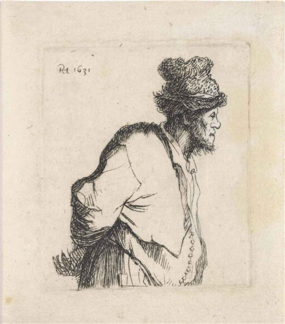 peasant with his hands behind his back by rembrandt van rijn