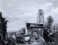 eglise sur la colline by louis cretien