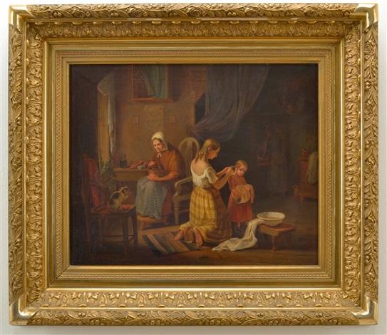 allmogeinteriör med två flickor som gör morgontoilet och kvinna som maler kaffe by bengt nordenberg