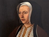 bust length portrait of a lady by jan (joannes sinapius) mostaert