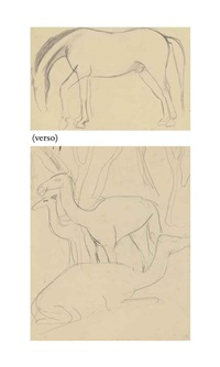 untitled (camels) (recto); untitled (horse) (verso) by amrita sher-gil