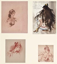 cecilia (4 works mounted as one) by william russell flint