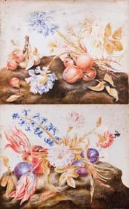 albicocche, pere e fiori su una superfice terrosa (+ another; 2 works) by giovanna garzoni