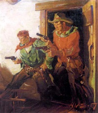 two hombres backing towards door with guns at the ready by harold winfield scott